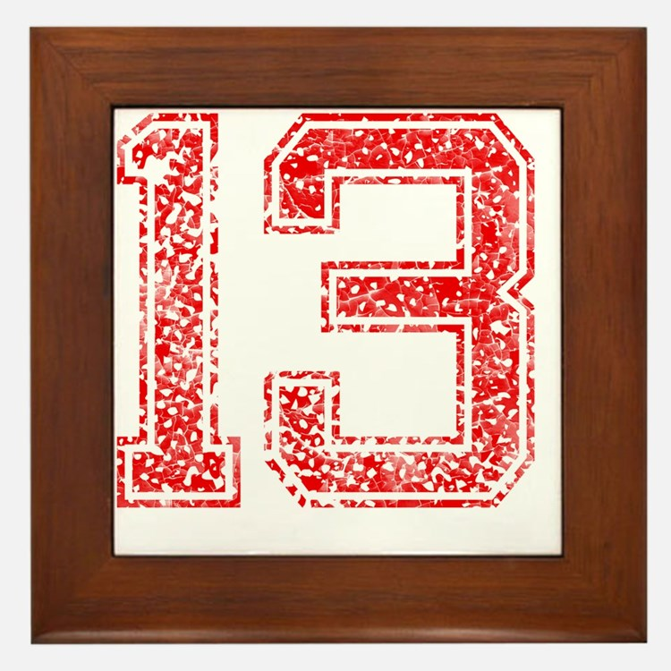 13, Red, Vintage Framed Tile