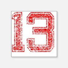 "13, Red, Vintage Square Sticker 3"" x 3"""