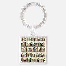 Reading Room Bookshelf Square Keychain