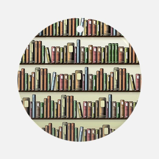 Reading Room Bookshelf Round Ornament