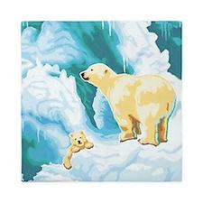 Mama and Cub Polar Bear Queen Duvet