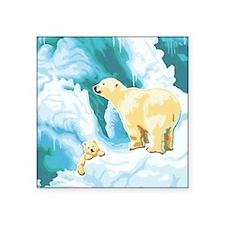 "Mama and Cub Polar Bear Square Sticker 3"" x 3"""