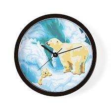 Mama and Cub Polar Bear Wall Clock