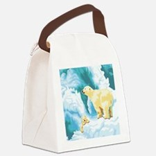 Mama and Cub Polar Bear Canvas Lunch Bag
