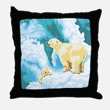 Mama and Cub Polar Bear Throw Pillow