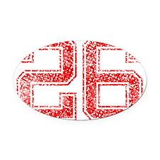 26, Red, Vintage Oval Car Magnet