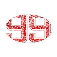 99, Red, Vintage Oval Car Magnet