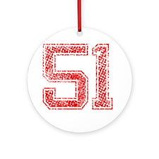 51, Red, Vintage Round Ornament