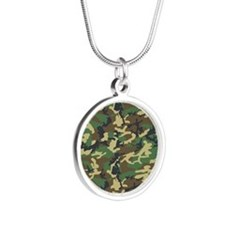 Woodland Camo Silver Round Necklace