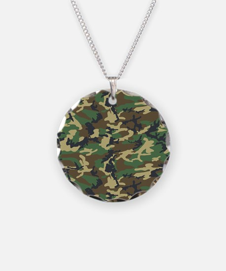 Woodland Camo Necklace Circle Charm