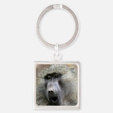 Olive Baboon Square Keychain