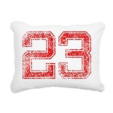 23, Red, Vintage Rectangular Canvas Pillow