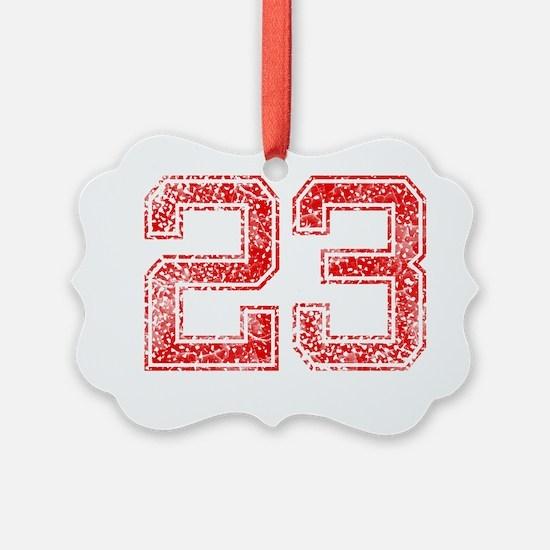 23, Red, Vintage Ornament