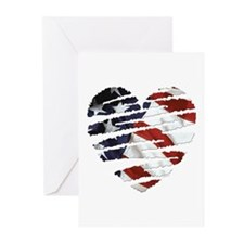 US Flag: Heart Greeting Cards (Pk of 10)