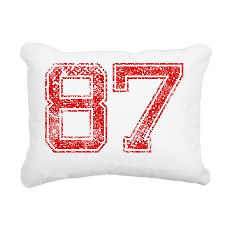 87, Red, Vintage Rectangular Canvas Pillow