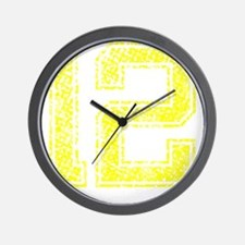 12, Yellow, Vintage Wall Clock