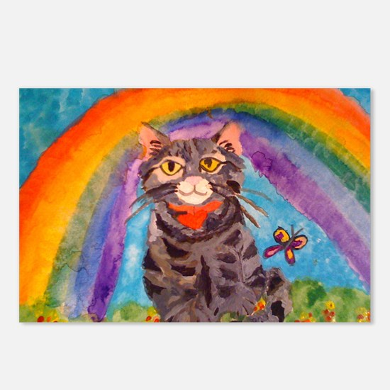 PRECIOUS CAT AT THE RAINB Postcards (Package of 8)