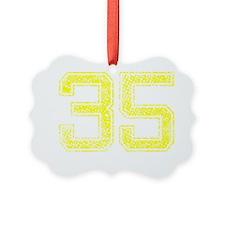 35, Yellow, Vintage Ornament