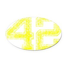 42, Yellow, Vintage Oval Car Magnet