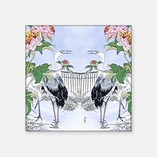 "Puzzle Crane Peony Floral B Square Sticker 3"" x 3"""