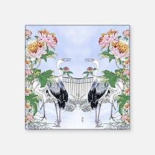 "King Duvet Cranes Peonies F Square Sticker 3"" x 3"""