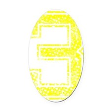 3, Yellow, Vintage Oval Car Magnet