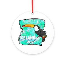 iceland puffin art illustration Round Ornament