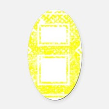 8, Yellow, Vintage Oval Car Magnet