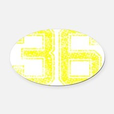 36, Yellow, Vintage Oval Car Magnet
