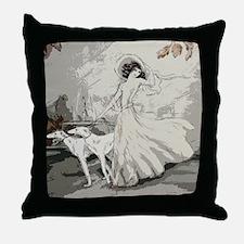 Art Deco Lady And Borzoi Throw Pillow
