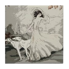 Art Deco Lady And Borzoi Tile Coaster