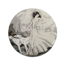 "Art Deco Lady And Borzoi 3.5"" Button"
