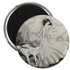 Art Deco Lady And Borzoi Magnet