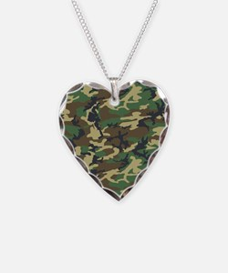 Woodland Camo Clipboard Necklace Heart Charm
