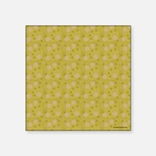 "Olive Green Retro Bubbles Square Sticker 3"" x 3"""