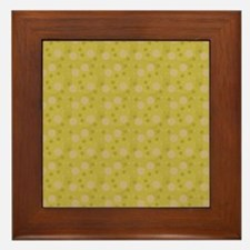 Olive Green Retro Bubbles Framed Tile