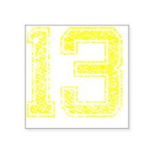"13, Yellow, Vintage Square Sticker 3"" x 3"""
