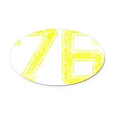 76, Yellow, Vintage Oval Car Magnet