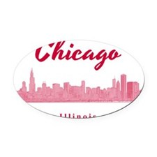 Chicago_12x12_Skyline_Red Oval Car Magnet