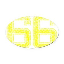 66, Yellow, Vintage Oval Car Magnet
