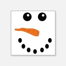 "Snowman Face Square Sticker 3"" x 3"""
