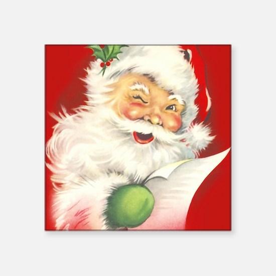 "Santa Vintage Square Sticker 3"" x 3"""