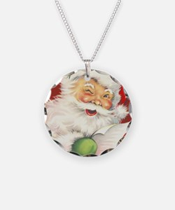 Santa Vintage Necklace Circle Charm
