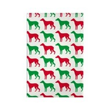 Greyhound Christmas or Holiday Si Rectangle Magnet