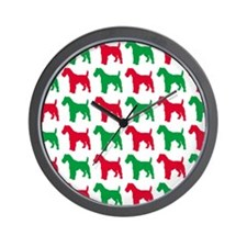 Schnauzer Christmas or Holiday Silhouet Wall Clock