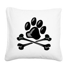 paw and crossbones Square Canvas Pillow