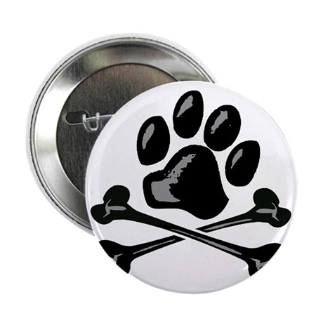 """paw and crossbones 2.25"""" Button"""