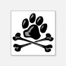 "paw and crossbones Square Sticker 3"" x 3"""