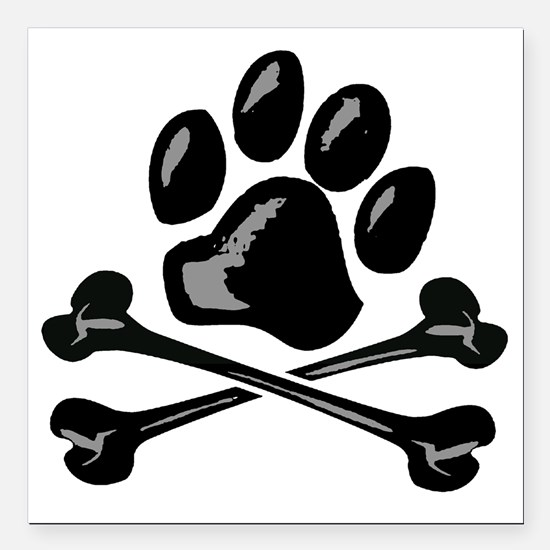 "paw and crossbones Square Car Magnet 3"" x 3"""