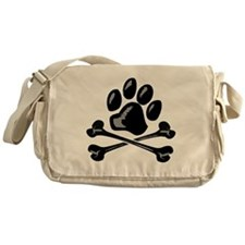 paw and crossbones Messenger Bag